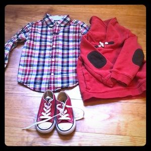 Janie and jack shirt 18-24 converse shoes size 7
